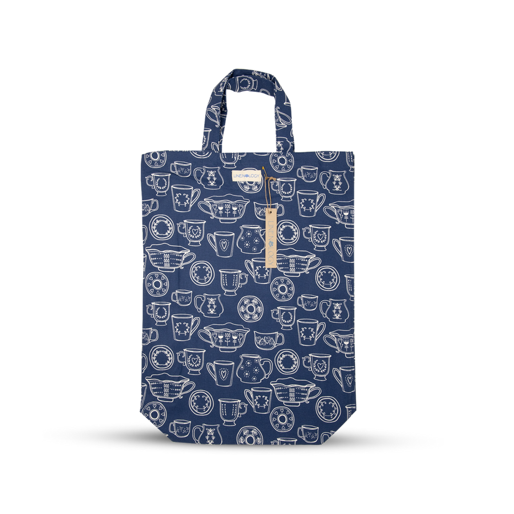 Load image into Gallery viewer, Shopping Bag - Cup & Saucer - Navy