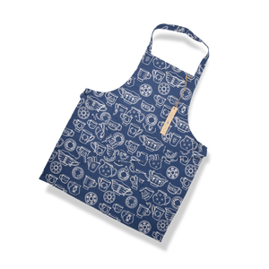Load image into Gallery viewer, Apron-Cup & Saucer-Navy
