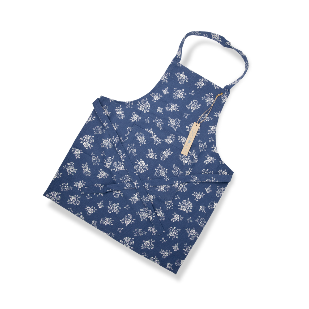 Apron-English Rose-Navy