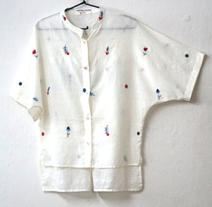 Barnita Kimono Shirt - hand embroidered on handwoven muslin
