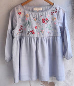 Bosonto tunic  -  hand embroidered on handwoven cotton dobby