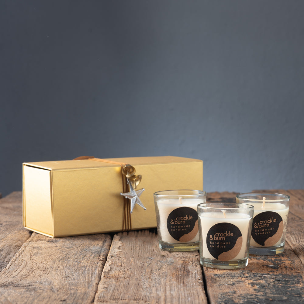 Gold Gift Box with 3 Medium Glass Candles