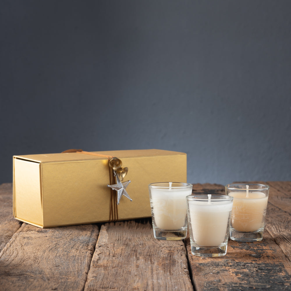 Gold Gift Box with 3 Shot Glass Candles