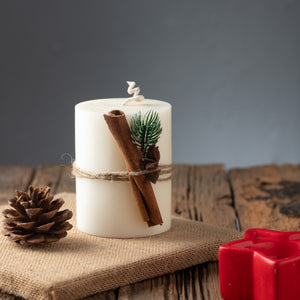 White Pillar with Cinnamon & Star Tied