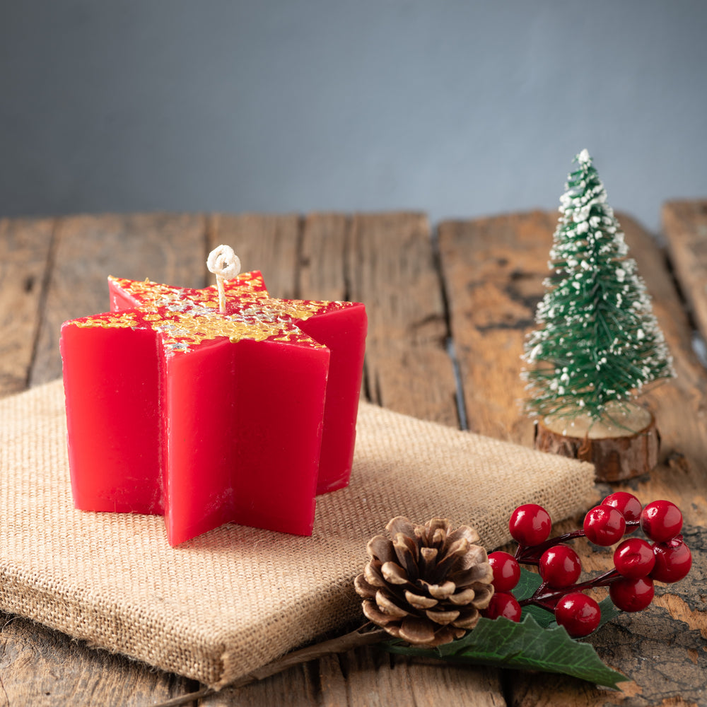 Red & Gold Star Candle