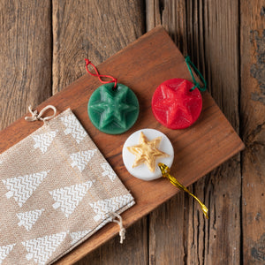Scented Christmas Ornaments - Set of 3 in Burlap Gift Bag