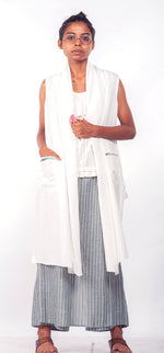 Daisy handwoven cotton Shrug with hand embroidered detail