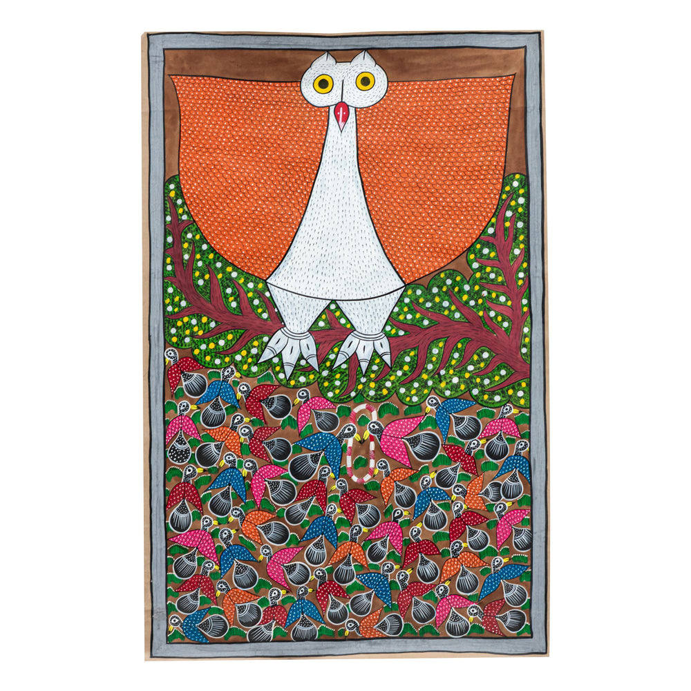 BENGAL PATTACHITRA : An Owl With Many Birds