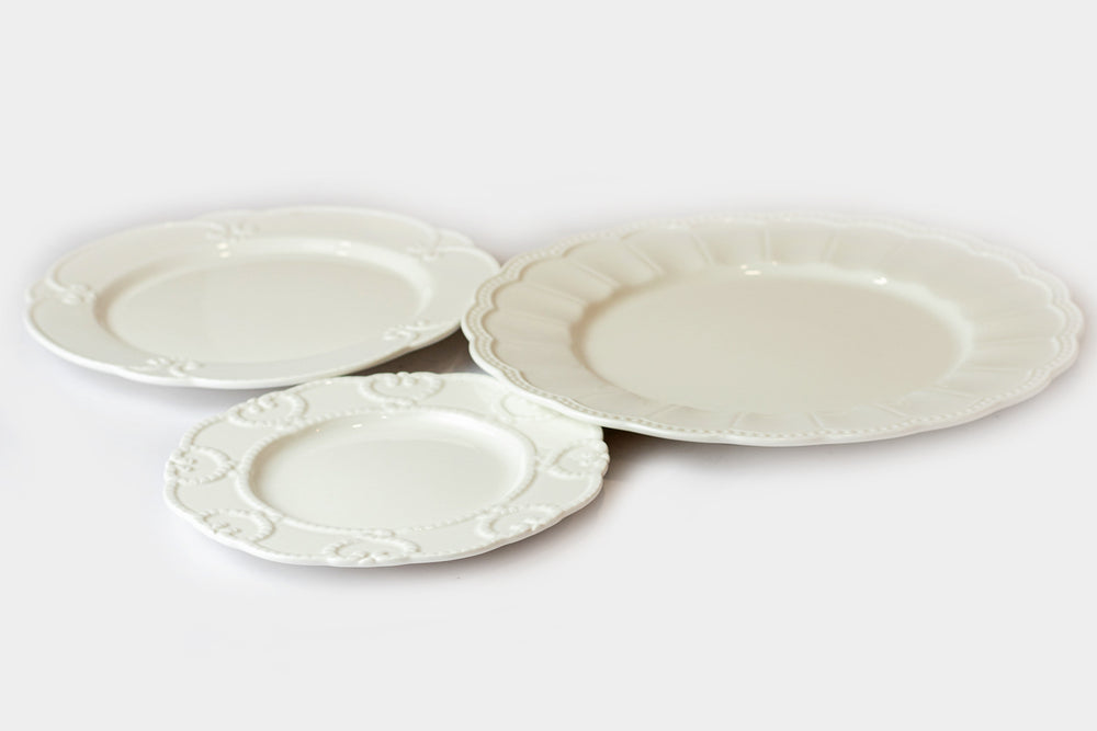 White Embossed Plates Set of 3