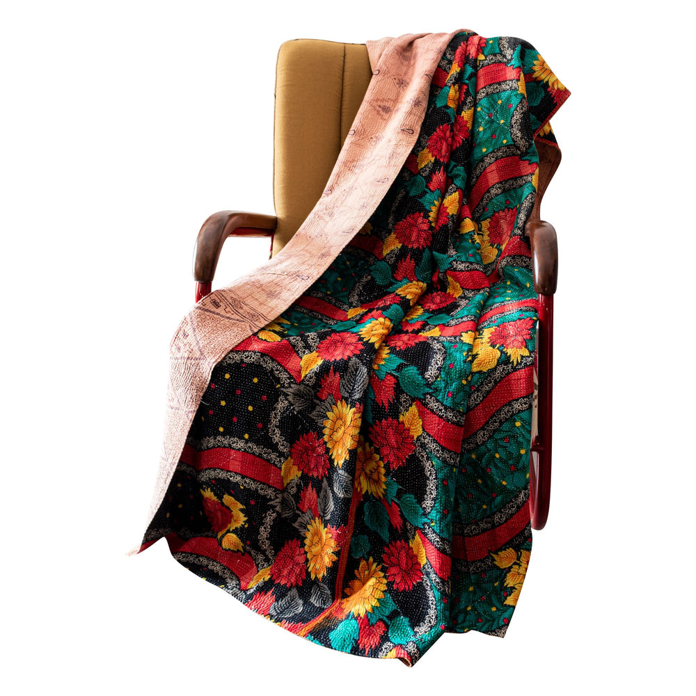 Cotton kantha throw