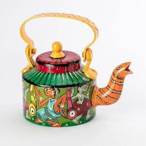BENGAL PATTACHITRA : Orange Snake Kettle