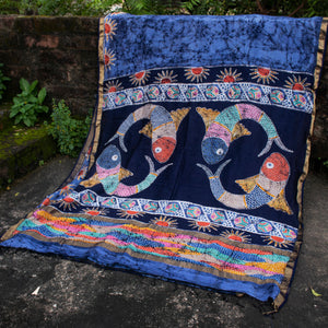 Load image into Gallery viewer, Kaisori Matsya Indigo Batik Maheshwari Saree