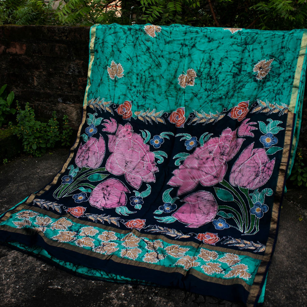 Load image into Gallery viewer, Kaisori Padma Teal Batik Maheshwari Saree
