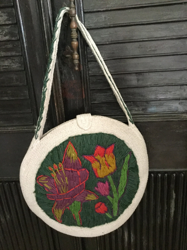 Load image into Gallery viewer, Flower Round Bags - Dark Green handle