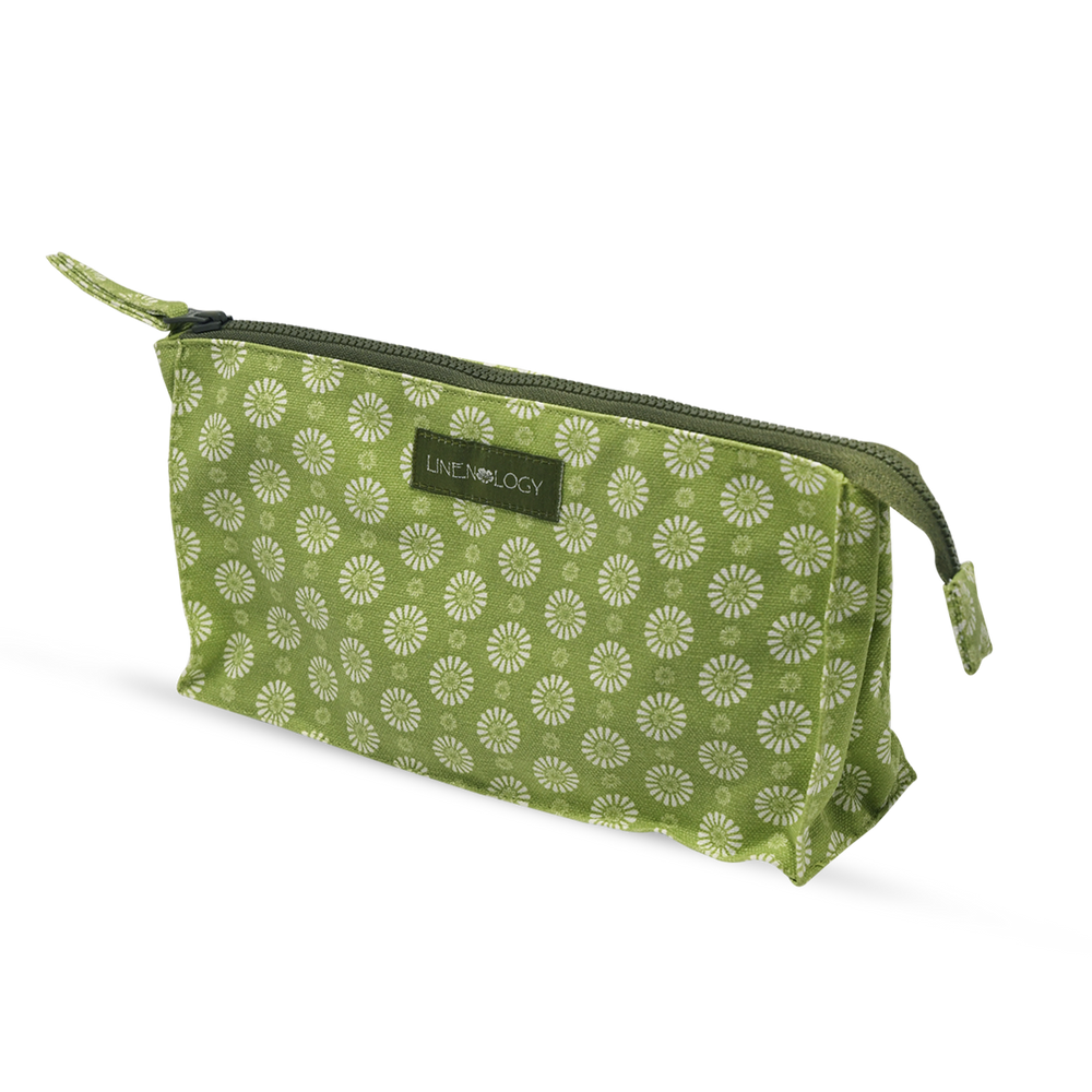 Load image into Gallery viewer, Makeup Bag Big - Geo Lime