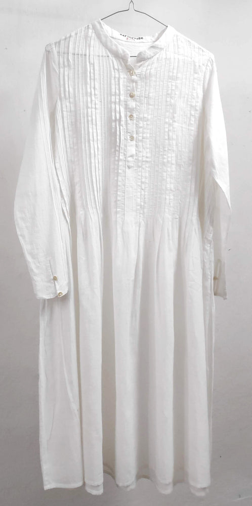 Hansini Pleated dress in handspun and handwoven cotton muslin