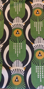 Art Deco Hawk - Green, Mustard and Black on Off White