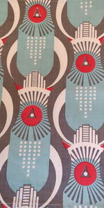 Art Deco Hawk - Blue, Red and Grey on White