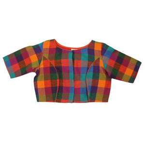 Load image into Gallery viewer, Multi coloured checks Palash Blouse