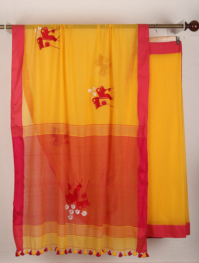 Yellow Feet Saree