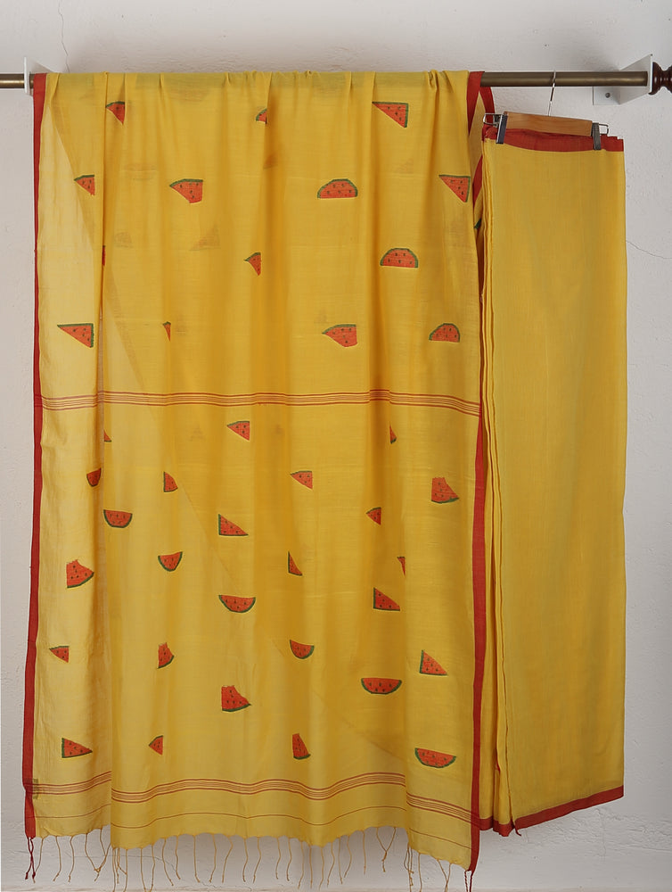 Load image into Gallery viewer, Yellow Watermelon Jamdani Saree