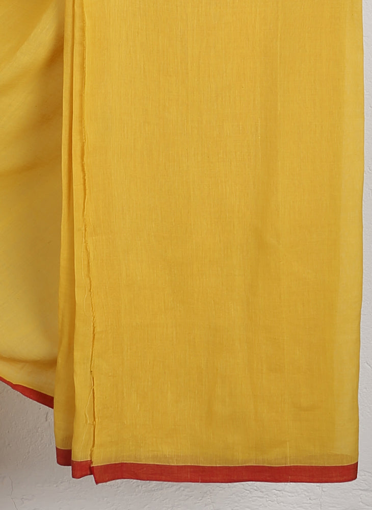 Yellow Watermelon Jamdani Saree