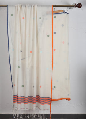 White Polka Dot Jamdani Saree