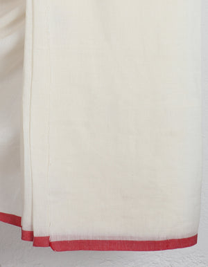 Load image into Gallery viewer, White Jamdani Watermelon Saree