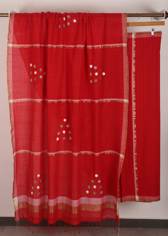 Red Khadi Dandelion Saree
