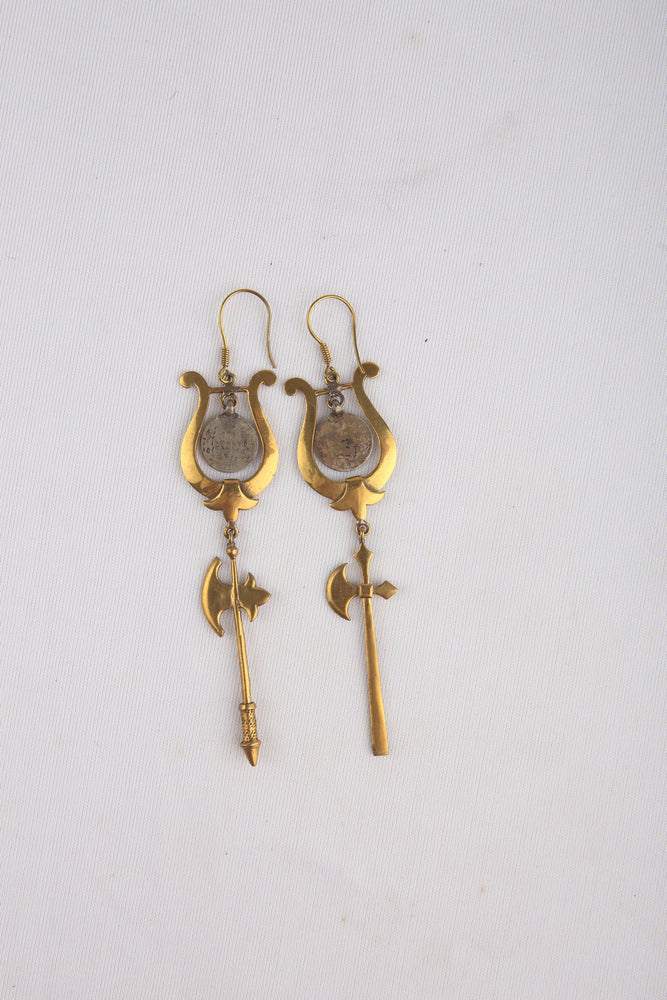 Asymmetric Earrings With Silver Coins