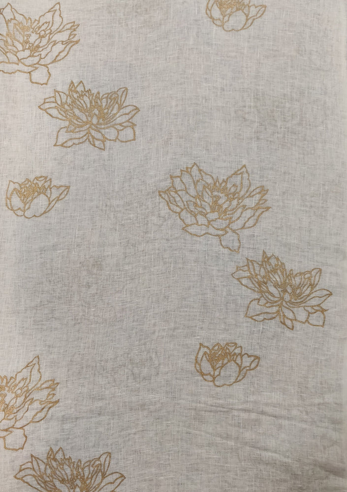 Floating Lotus - Gold on Linen
