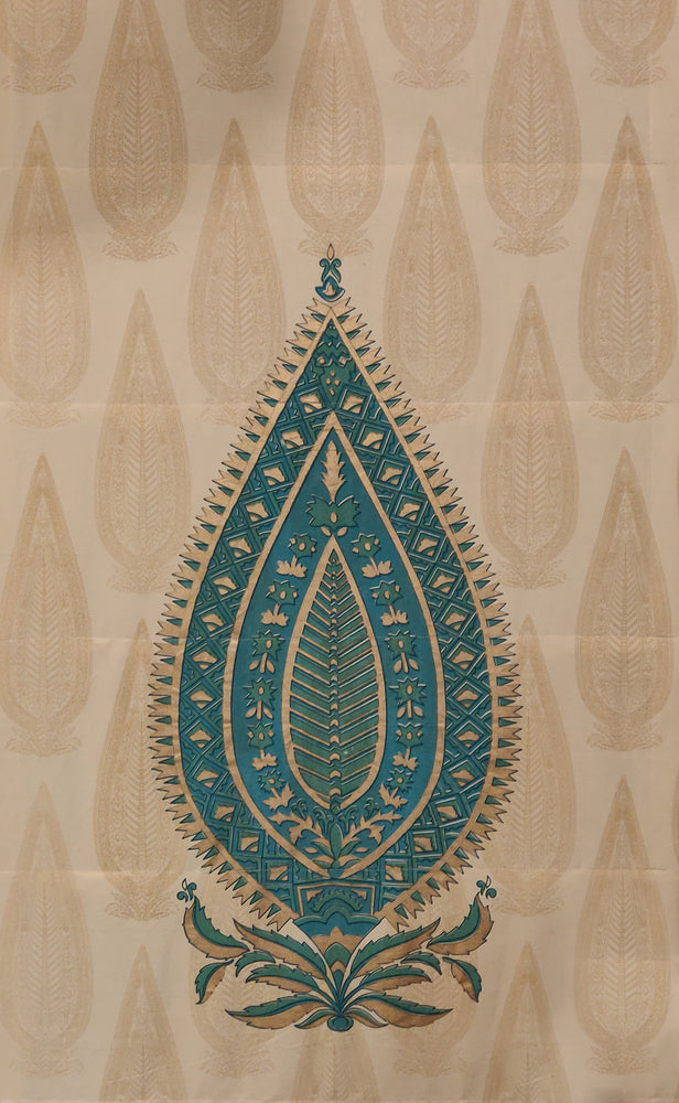 Ashoka Panel - Blues and Gold on Beige