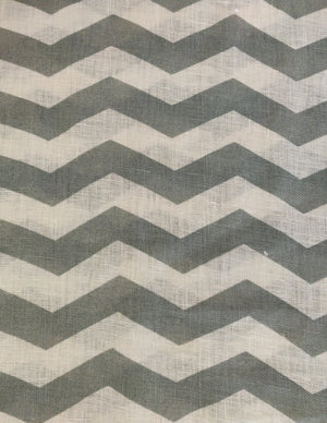Lazy Chevron - Mint Green on Off White Linen