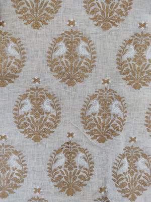 Mayura - Gold and White on Off White Linen