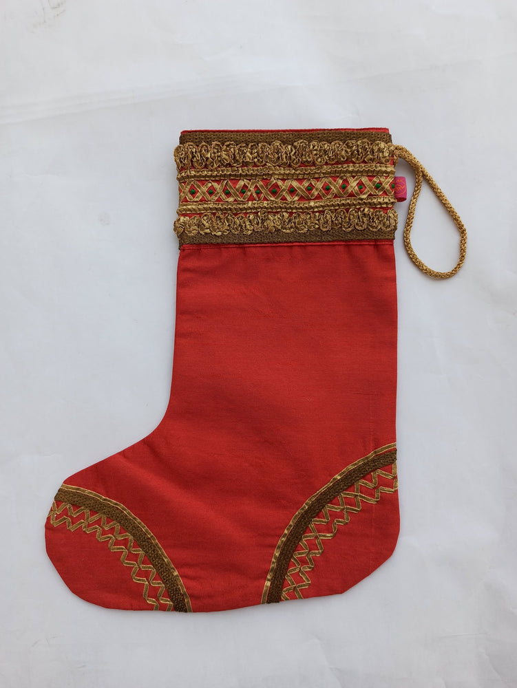 Christmas Stocking - Red Lace