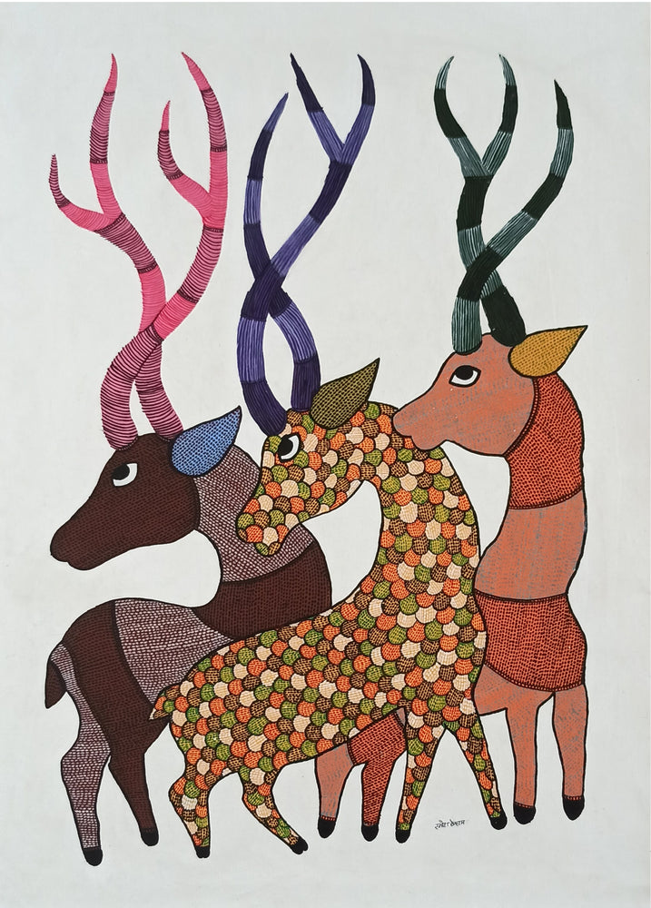 Load image into Gallery viewer, Gond : 3 Deer