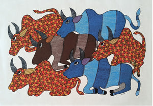 Load image into Gallery viewer, Gond : 6 Bulls