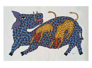 Load image into Gallery viewer, Gond : 2 lions 1 pig