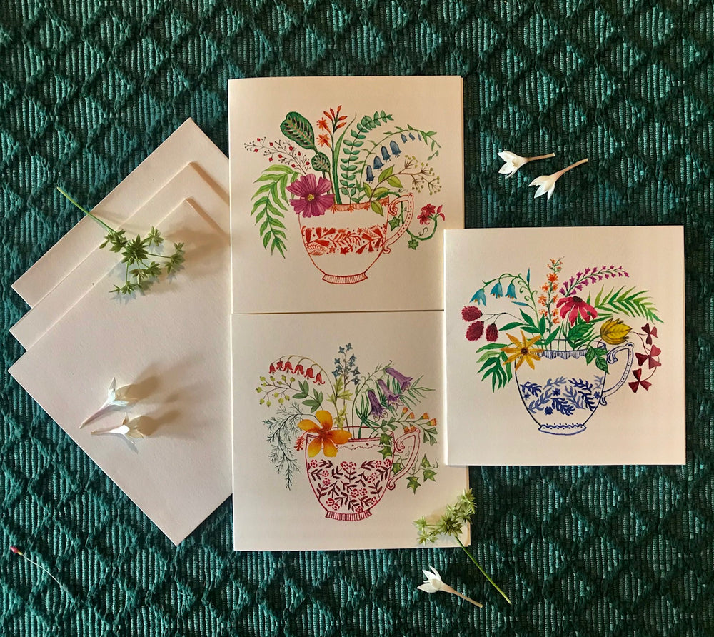 Notecards S/3 - Vintage Teacups
