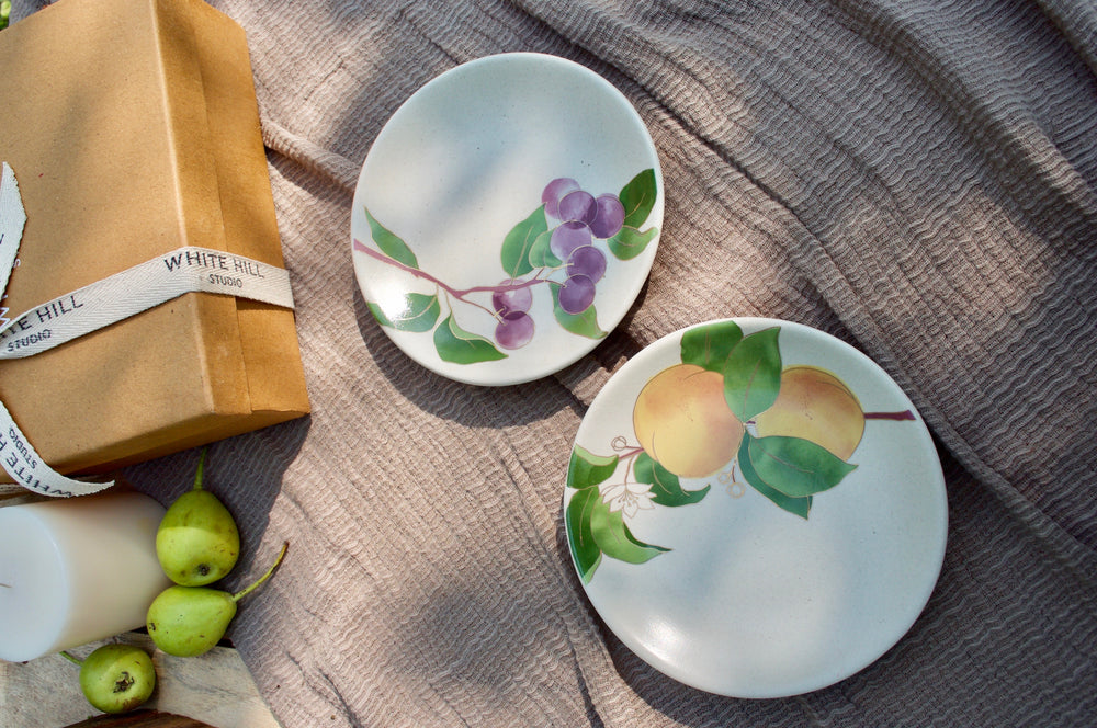 Postcards from Simla Plum & Apricot Appetizer Plates (Set of 6)