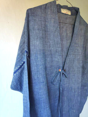 Neel Natural Indigo Kimono Jacket in handspun and handwoven cotton