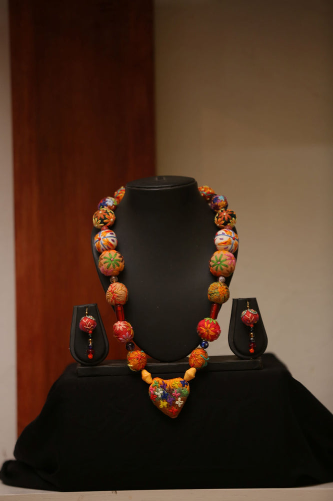 Orange Embroidered Beaded Necklace and Earrings Sets