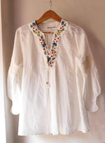 Patty Flared Tunic - hand embroidered on handwoven muslin