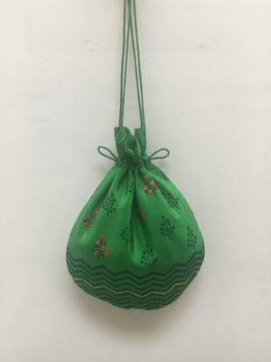 Load image into Gallery viewer, Crepe Silk Emerald Curved Potli