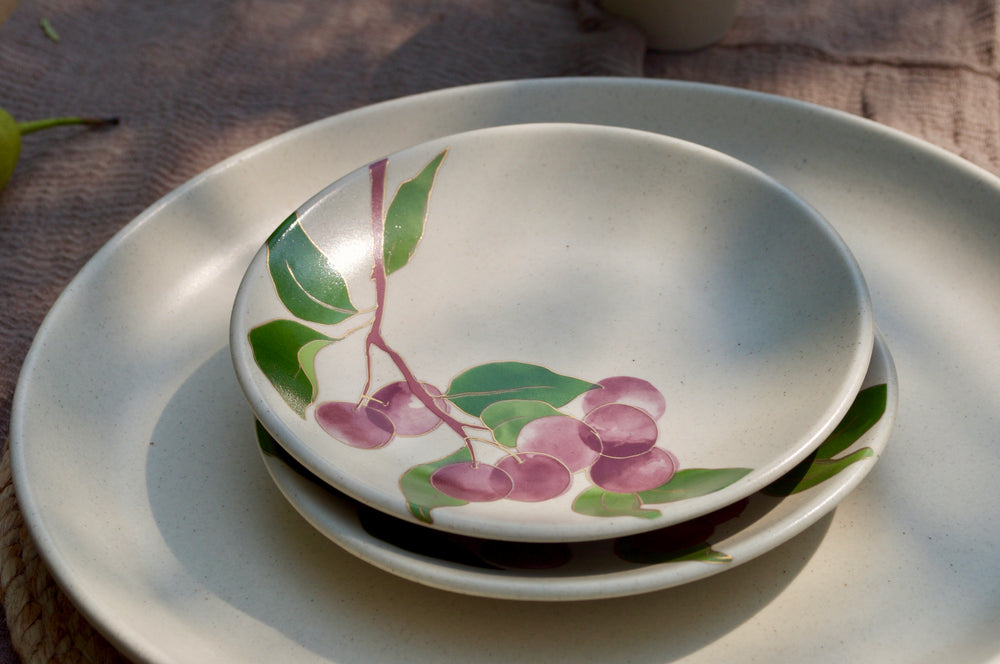 Postcards from Simla - Plum Appetizer Plates (Set of 4)
