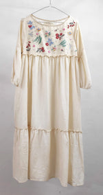 Rosa Tiered Dress- hand embroidered on handwoven cotton self check