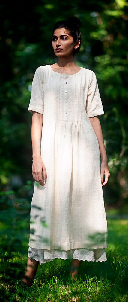 Swan Dress in naturally grown hand spun and handwoven desi cotton