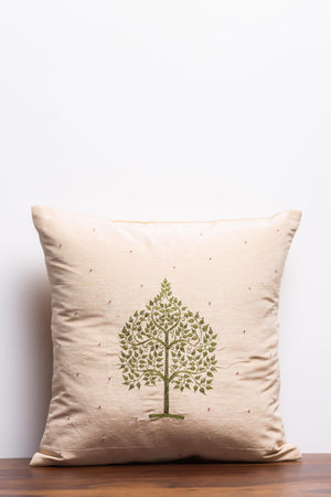 Tree Of Life Beige Cushion Cover