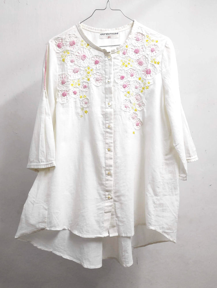 Tulika Shirt - hand embroidered on handwoven muslin