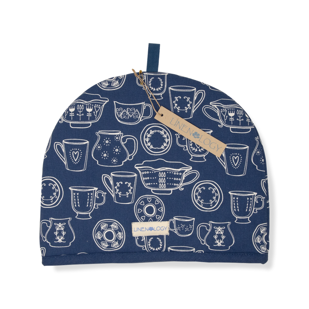 Load image into Gallery viewer, Tea Cosy-Cup & Saucer-Navy